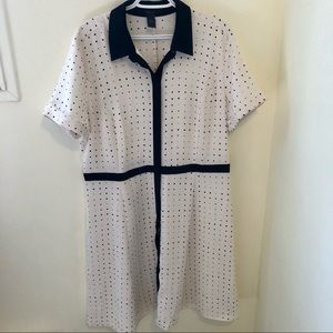 Ann Taylor fit and flare vintage dot dress